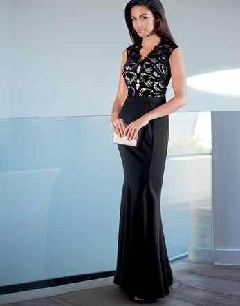 Love Michelle Keegan Lace Trim Maxi Dress - neckline: v-neck; pattern: plain; sleeve style: sleeveless; style: maxi dress; predominant colour: black; occasions: evening; length: floor length; fit: body skimming; fibres: polyester/polyamide - stretch; sleeve length: sleeveless; pattern type: fabric; texture group: other - light to midweight; embellishment: lace; season: s/s 2016