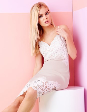 Lingerie Cami Body Dress - neckline: low v-neck; sleeve style: spaghetti straps; predominant colour: ivory/cream; occasions: evening; length: on the knee; fit: body skimming; style: slip dress; fibres: polyester/polyamide - stretch; sleeve length: sleeveless; texture group: lace; pattern type: fabric; pattern size: standard; pattern: patterned/print; embellishment: lace; season: s/s 2016; wardrobe: event