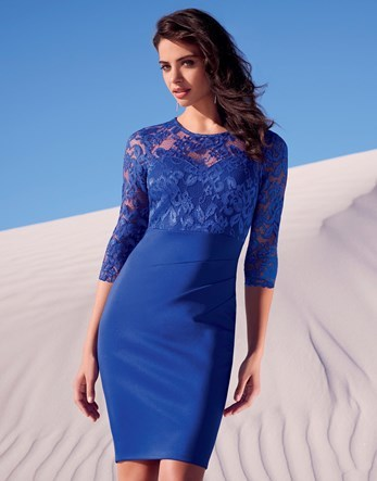 Long Sleeve Lace Top Dress - style: shift; pattern: plain; bust detail: sheer at bust; hip detail: draws attention to hips; predominant colour: royal blue; occasions: evening; length: on the knee; fit: body skimming; fibres: polyester/polyamide - stretch; neckline: crew; sleeve length: 3/4 length; sleeve style: standard; pattern type: fabric; texture group: jersey - stretchy/drapey; embellishment: lace; season: s/s 2016; wardrobe: event