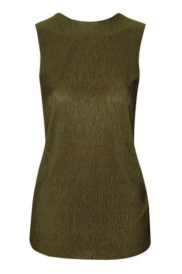 Crinkle Twist Back Tank - pattern: plain; sleeve style: sleeveless; style: vest top; predominant colour: khaki; occasions: casual, creative work; length: standard; fibres: polyester/polyamide - 100%; fit: body skimming; neckline: crew; sleeve length: sleeveless; pattern type: fabric; texture group: jersey - stretchy/drapey; season: s/s 2016; wardrobe: basic; trends: metallics