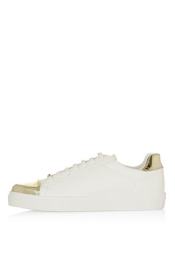 Cap Lace Up Trainers - predominant colour: white; secondary colour: gold; occasions: casual; material: faux leather; heel height: flat; toe: round toe; style: trainers; finish: plain; pattern: plain; embellishment: toe cap; season: s/s 2016