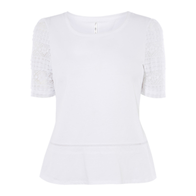 Lace Top, White - predominant colour: white; occasions: casual; length: standard; style: top; fibres: cotton - stretch; fit: body skimming; neckline: crew; sleeve length: short sleeve; sleeve style: standard; texture group: lace; pattern type: fabric; pattern: patterned/print; embellishment: lace; season: s/s 2016; wardrobe: highlight