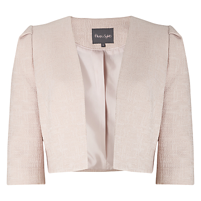 Jeanie Jacket, Damask - pattern: plain; style: bolero/shrug; collar: round collar/collarless; predominant colour: blush; occasions: evening, occasion; fit: tailored/fitted; fibres: cotton - mix; sleeve length: 3/4 length; sleeve style: standard; collar break: low/open; pattern type: fabric; texture group: woven light midweight; length: cropped; season: s/s 2016; wardrobe: event
