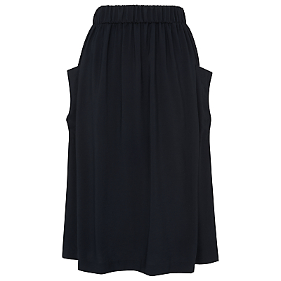Casual Pocket Skirt, Navy - length: below the knee; pattern: plain; fit: loose/voluminous; waist detail: elasticated waist; hip detail: side pockets at hip; waist: high rise; predominant colour: navy; occasions: casual, creative work; style: a-line; pattern type: fabric; texture group: other - light to midweight; fibres: viscose/rayon - mix; season: s/s 2016; wardrobe: basic