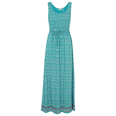 Freya Coastal Floral Maxi Dress, Eucalyptus - sleeve style: standard vest straps/shoulder straps; style: maxi dress; length: ankle length; waist detail: belted waist/tie at waist/drawstring; secondary colour: navy; predominant colour: turquoise; fit: body skimming; neckline: scoop; fibres: linen - mix; hip detail: subtle/flattering hip detail; sleeve length: sleeveless; texture group: linen; occasions: holiday; pattern type: fabric; pattern size: standard; pattern: patterned/print; season: s/s 2016; wardrobe: holiday