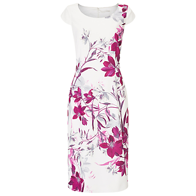 Bali Floral Print Dress, Multi - style: shift; neckline: round neck; sleeve style: capped; fit: tailored/fitted; predominant colour: white; secondary colour: magenta; length: on the knee; fibres: polyester/polyamide - 100%; occasions: occasion; sleeve length: short sleeve; pattern type: fabric; pattern size: standard; pattern: florals; texture group: woven light midweight; season: s/s 2016; wardrobe: event