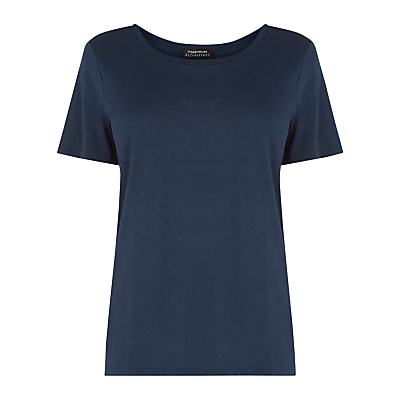 Classic T Shirt - neckline: round neck; pattern: plain; style: t-shirt; predominant colour: navy; occasions: casual, work, creative work; length: standard; fibres: viscose/rayon - 100%; fit: body skimming; sleeve length: short sleeve; sleeve style: standard; pattern type: fabric; texture group: other - light to midweight; season: s/s 2016; wardrobe: basic