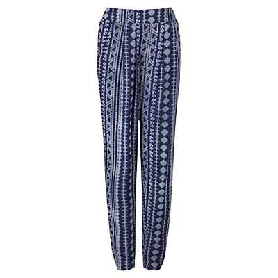 Aztec Print Harem Trousers, Navy - length: standard; style: harem/slouch; waist: mid/regular rise; secondary colour: white; predominant colour: navy; occasions: casual; fibres: cotton - 100%; texture group: cotton feel fabrics; fit: baggy; pattern type: fabric; pattern: patterned/print; season: s/s 2016; wardrobe: highlight