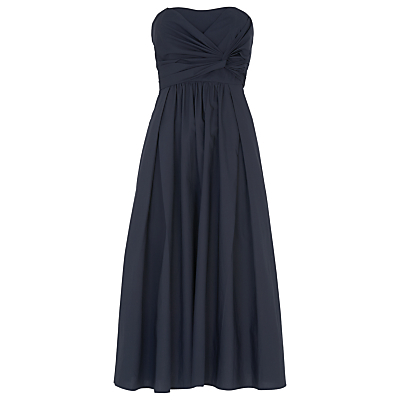 Bardot Tie Poplin Dress, Navy - length: calf length; neckline: strapless (straight/sweetheart); pattern: plain; sleeve style: strapless; bust detail: ruching/gathering/draping/layers/pintuck pleats at bust; predominant colour: navy; fit: fitted at waist & bust; style: fit & flare; fibres: cotton - 100%; occasions: occasion; sleeve length: sleeveless; pattern type: fabric; texture group: other - light to midweight; season: s/s 2016