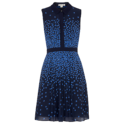 Star Print Shirt Dress, Blue/Multi - style: shirt; neckline: shirt collar/peter pan/zip with opening; sleeve style: sleeveless; secondary colour: diva blue; predominant colour: navy; length: just above the knee; fit: fitted at waist & bust; fibres: polyester/polyamide - 100%; sleeve length: sleeveless; pattern type: fabric; pattern size: standard; pattern: patterned/print; texture group: other - light to midweight; occasions: creative work; season: s/s 2016