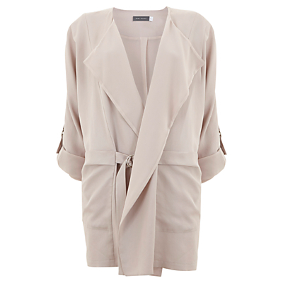 Collarless Organic Jacket, Nude - style: belted jacket; collar: shawl/waterfall; fit: loose; length: below the bottom; pattern: argyll; predominant colour: blush; occasions: casual, creative work; fibres: polyester/polyamide - 100%; sleeve length: 3/4 length; sleeve style: standard; collar break: medium; pattern type: fabric; texture group: other - light to midweight; season: s/s 2016; wardrobe: highlight