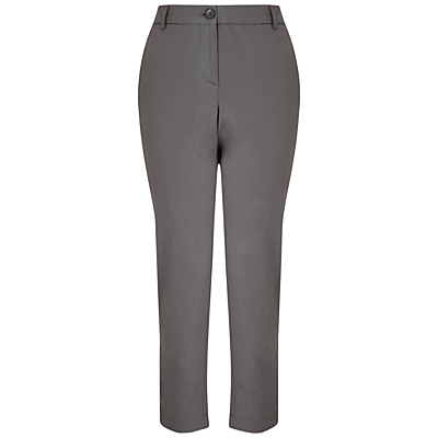 Chinos - length: standard; pattern: plain; waist: high rise; predominant colour: mid grey; occasions: work; fibres: cotton - 100%; texture group: cotton feel fabrics; fit: slim leg; pattern type: fabric; style: standard; season: s/s 2016