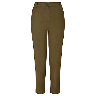 Chinos - length: standard; pattern: plain; waist: high rise; predominant colour: khaki; occasions: casual, holiday, creative work; fibres: cotton - 100%; texture group: cotton feel fabrics; fit: slim leg; pattern type: fabric; style: standard; season: s/s 2016; wardrobe: basic