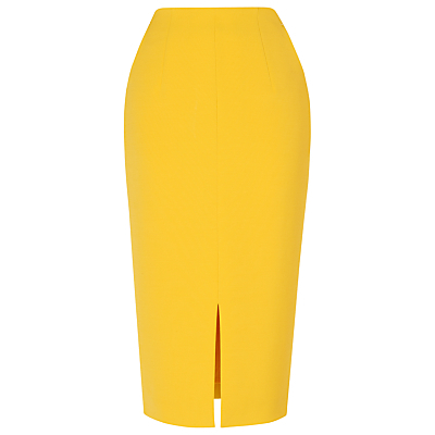 Codie High Waisted Pencil Skirt - length: below the knee; pattern: plain; style: pencil; fit: tailored/fitted; waist: high rise; hip detail: draws attention to hips; predominant colour: yellow; fibres: polyester/polyamide - stretch; occasions: occasion, creative work; pattern type: fabric; texture group: woven light midweight; season: s/s 2016; wardrobe: highlight