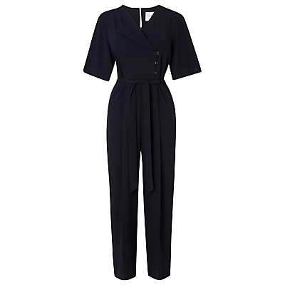 Marti Soft Jumpsuit, Blue - length: standard; neckline: v-neck; fit: fitted at waist; pattern: plain; waist detail: belted waist/tie at waist/drawstring; predominant colour: navy; sleeve length: short sleeve; sleeve style: standard; style: jumpsuit; pattern type: fabric; texture group: other - light to midweight; fibres: viscose/rayon - mix; occasions: creative work; season: s/s 2016; wardrobe: highlight