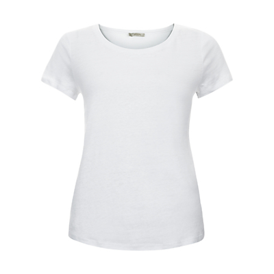 Leticia Linen T Shirt - neckline: round neck; pattern: plain; style: t-shirt; predominant colour: white; occasions: casual, creative work; length: standard; fibres: linen - 100%; fit: body skimming; sleeve length: short sleeve; sleeve style: standard; texture group: linen; pattern type: fabric; season: s/s 2016; wardrobe: basic
