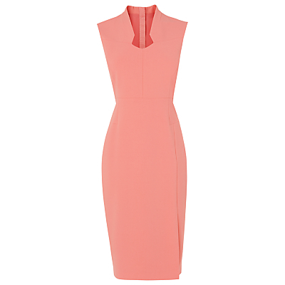 Dendra Sleeveless Dress, Pink - style: shift; length: below the knee; neckline: v-neck; fit: tight; pattern: plain; sleeve style: sleeveless; predominant colour: pink; occasions: evening, occasion; fibres: polyester/polyamide - stretch; sleeve length: sleeveless; pattern type: fabric; texture group: jersey - stretchy/drapey; season: s/s 2016; wardrobe: event