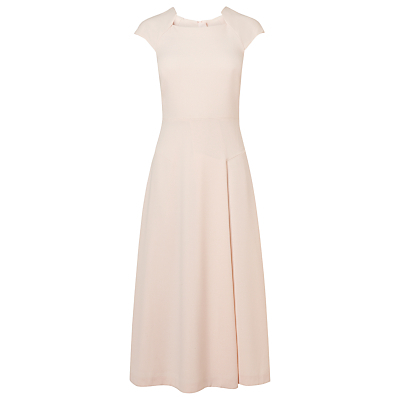 Elize Fit And Flare Dress - neckline: high square neck; sleeve style: capped; pattern: plain; length: ankle length; predominant colour: blush; fit: fitted at waist & bust; style: fit & flare; fibres: polyester/polyamide - stretch; occasions: occasion; sleeve length: short sleeve; pattern type: fabric; texture group: other - light to midweight; season: s/s 2016; wardrobe: event