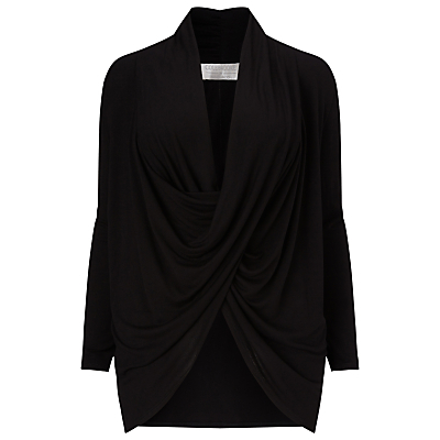 Drape Front Top - neckline: cowl/draped neck; pattern: plain; length: below the bottom; bust detail: subtle bust detail; predominant colour: black; style: top; fibres: viscose/rayon - 100%; fit: loose; sleeve length: long sleeve; sleeve style: standard; pattern type: fabric; texture group: jersey - stretchy/drapey; occasions: creative work; season: s/s 2016; wardrobe: basic