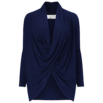 Drape Front Top - neckline: cowl/draped neck; pattern: plain; length: below the bottom; bust detail: subtle bust detail; predominant colour: navy; occasions: evening; style: top; fibres: viscose/rayon - 100%; fit: loose; sleeve length: long sleeve; sleeve style: standard; pattern type: fabric; texture group: jersey - stretchy/drapey; season: s/s 2016; wardrobe: event
