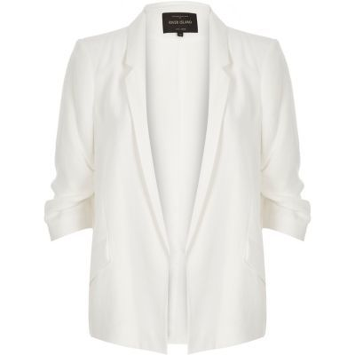 Womens White Ruched Sleeve Blazer - pattern: plain; style: single breasted blazer; length: below the bottom; collar: standard lapel/rever collar; predominant colour: ivory/cream; fit: straight cut (boxy); sleeve length: 3/4 length; sleeve style: standard; collar break: low/open; pattern type: fabric; texture group: woven light midweight; fibres: viscose/rayon - mix; occasions: creative work; season: s/s 2016; wardrobe: investment