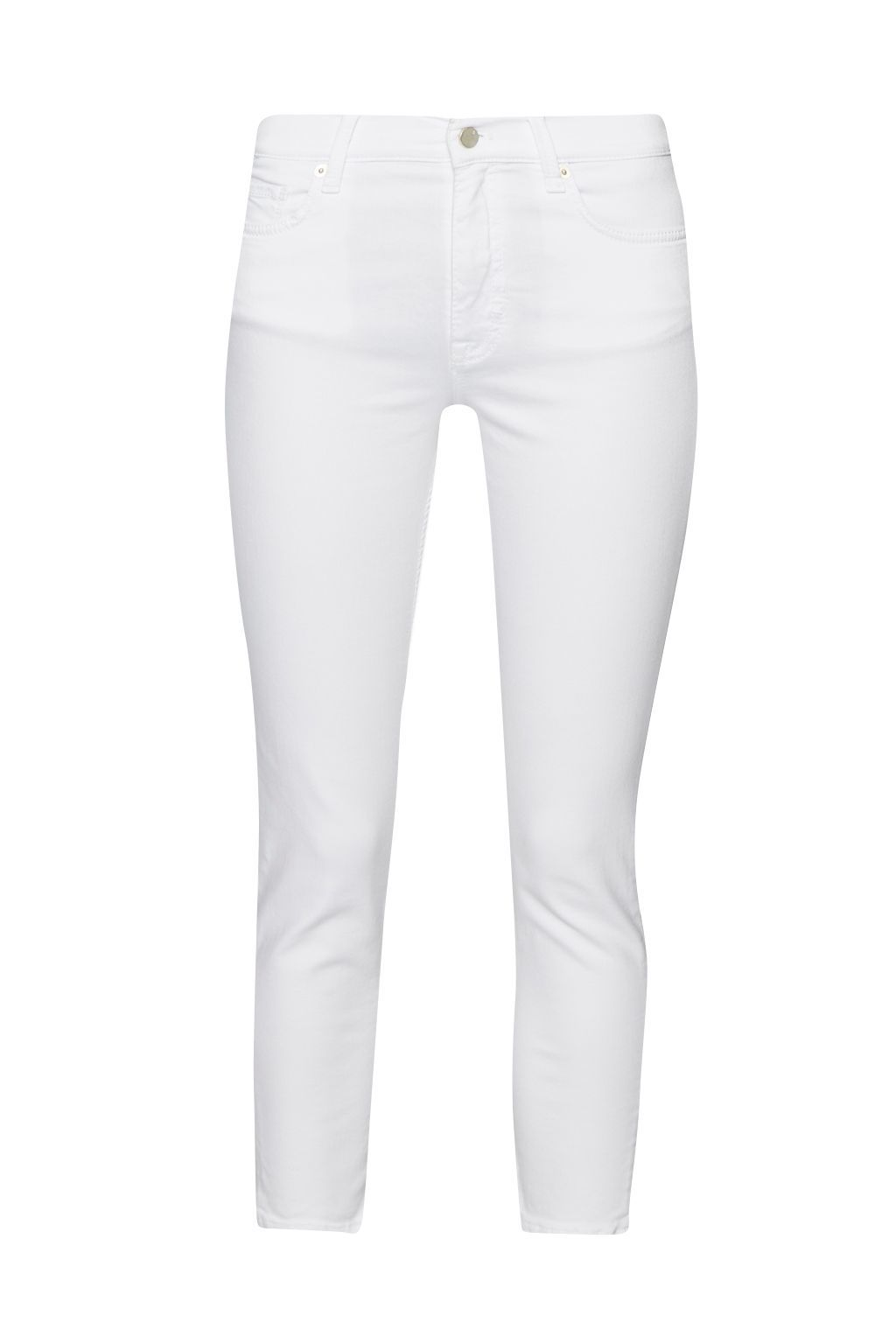 Skinny Stretch Rebound Denim, Off White - style: skinny leg; pattern: plain; pocket detail: traditional 5 pocket; waist: mid/regular rise; predominant colour: white; occasions: casual; length: calf length; fibres: cotton - stretch; texture group: denim; pattern type: fabric; season: s/s 2016; wardrobe: highlight