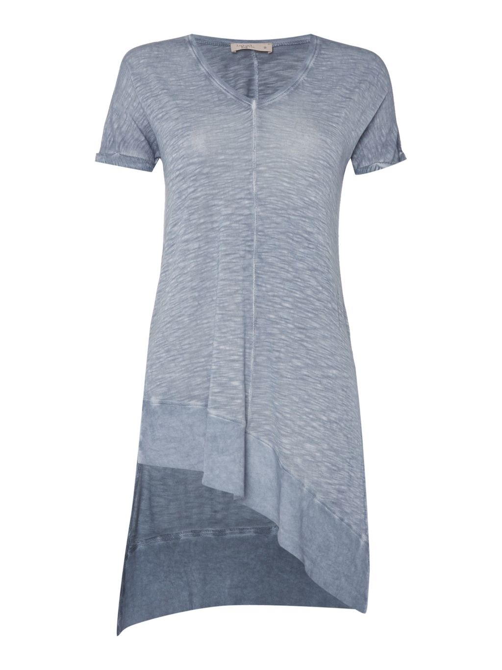 Rib Mix Jersey Tunic With Side Splits, Blue - neckline: v-neck; pattern: plain; length: below the bottom; style: tunic; predominant colour: pale blue; occasions: casual; fibres: viscose/rayon - 100%; fit: body skimming; sleeve length: short sleeve; sleeve style: standard; pattern type: fabric; texture group: jersey - stretchy/drapey; season: s/s 2016; wardrobe: highlight