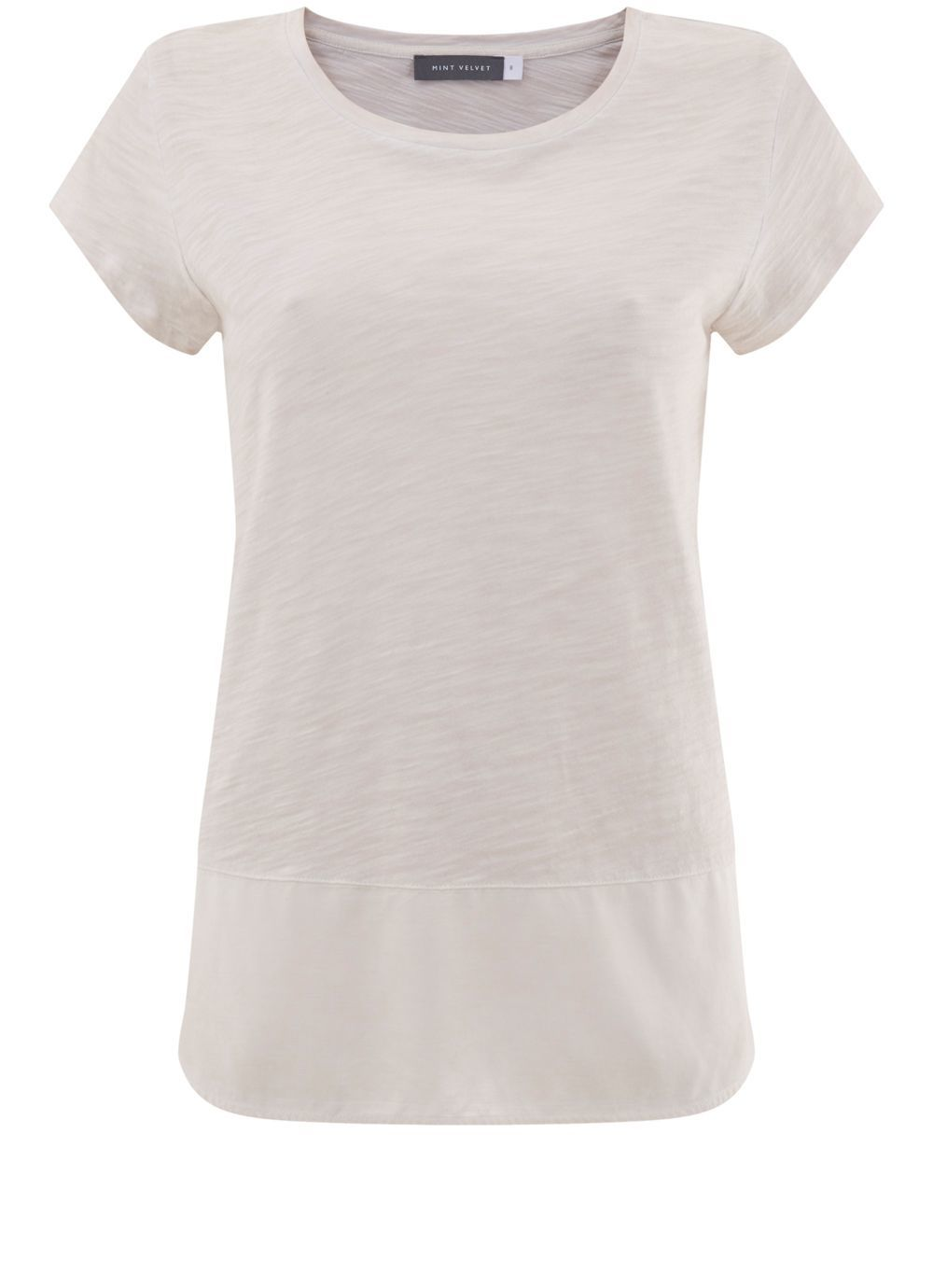 Powder Woven Hem Tee, Pink - pattern: plain; style: t-shirt; predominant colour: light grey; occasions: casual; length: standard; fibres: cotton - mix; fit: body skimming; neckline: crew; sleeve length: short sleeve; sleeve style: standard; pattern type: fabric; texture group: jersey - stretchy/drapey; season: s/s 2016; wardrobe: basic