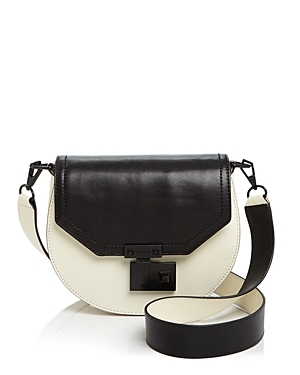 Medium Paris Saddle Bag - secondary colour: ivory/cream; predominant colour: black; occasions: casual; type of pattern: standard; style: messenger; length: across body/long; size: small; material: leather; trends: monochrome; finish: plain; pattern: colourblock; multicoloured: multicoloured; season: s/s 2016; wardrobe: highlight