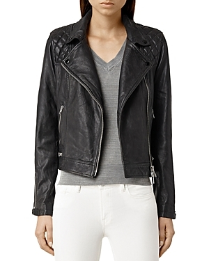 Conroy Quilted Leather Biker Jacket - pattern: plain; style: biker; collar: asymmetric biker; fit: slim fit; predominant colour: black; occasions: casual; length: standard; fibres: leather - 100%; sleeve length: long sleeve; sleeve style: standard; texture group: leather; collar break: medium; pattern type: fabric; season: s/s 2016; wardrobe: basic