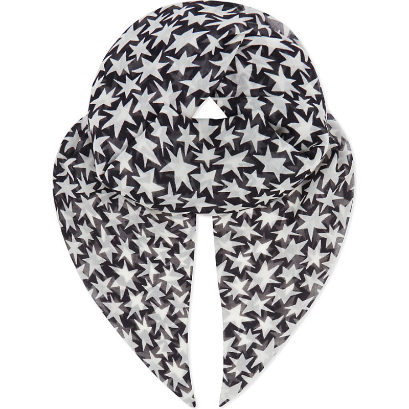 Stars Wool Scarf, Women's, Noir Off White - secondary colour: white; predominant colour: black; occasions: casual, creative work; type of pattern: light; style: square; size: standard; material: fabric; pattern: patterned/print; season: s/s 2016; wardrobe: highlight