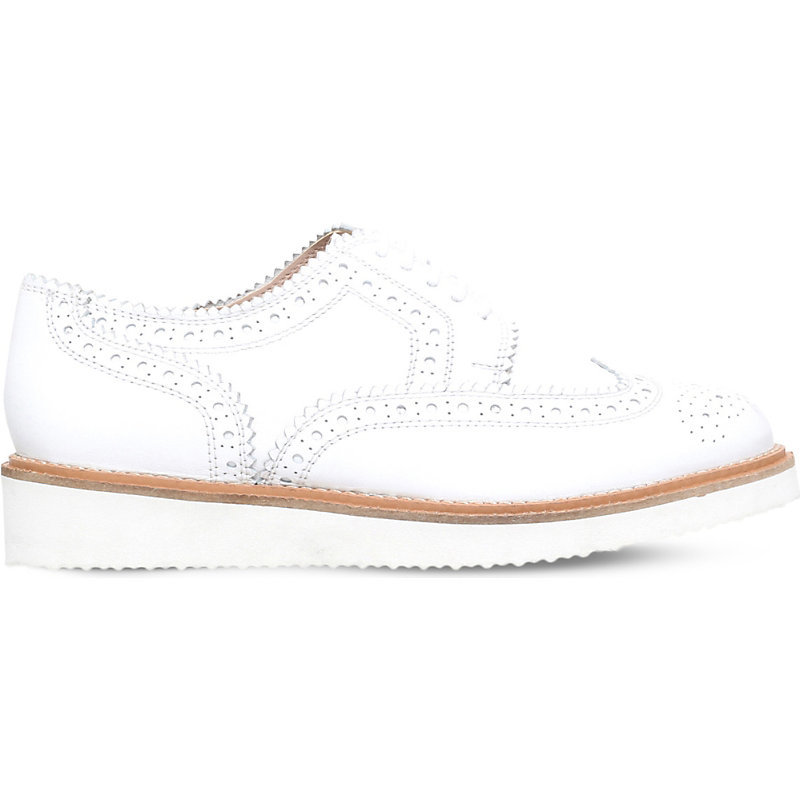 Knox Leather Brogues, Women's, Eur 36 / 3 Uk Women, White - predominant colour: white; occasions: casual; material: leather; heel height: flat; toe: round toe; style: brogues; finish: plain; pattern: plain; season: s/s 2016; wardrobe: basic