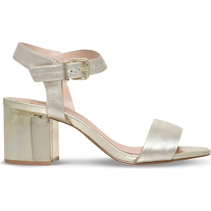Nora Leather Heeled Sandals, Women's, Eur 39 / 6 Uk Women, Beige - predominant colour: champagne; occasions: evening; material: leather; heel height: mid; ankle detail: ankle strap; heel: block; toe: open toe/peeptoe; style: strappy; finish: metallic; pattern: plain; season: s/s 2016; wardrobe: event