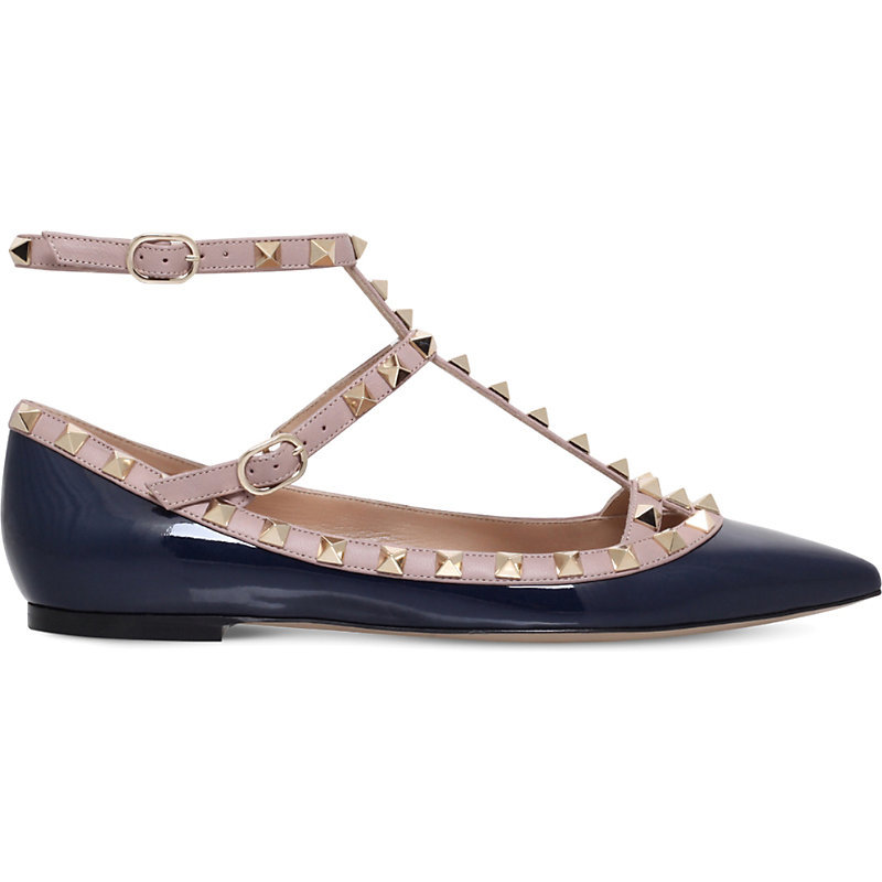Rockstud Patent Leather Ballerina Flats, Women's, Eur 37.5 / 4.5 Uk Women, Blue - predominant colour: navy; occasions: casual, creative work; material: leather; heel height: flat; toe: pointed toe; style: ballerinas / pumps; finish: plain; pattern: colourblock; multicoloured: multicoloured; season: s/s 2016; wardrobe: highlight