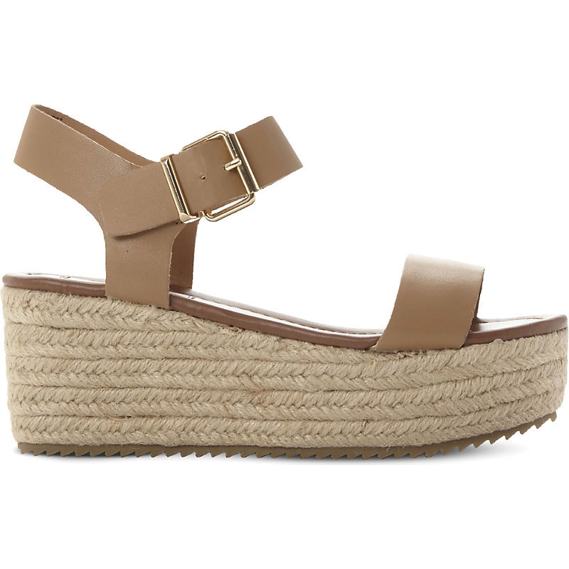 Surfa Espadrilles Platform Sandals, Women's, Eur 41 / 8 Uk Women, Natural Leather - predominant colour: nude; occasions: casual, holiday; material: leather; heel height: flat; ankle detail: ankle strap; heel: wedge; toe: open toe/peeptoe; style: standard; finish: plain; pattern: plain; shoe detail: platform; season: s/s 2016; wardrobe: basic