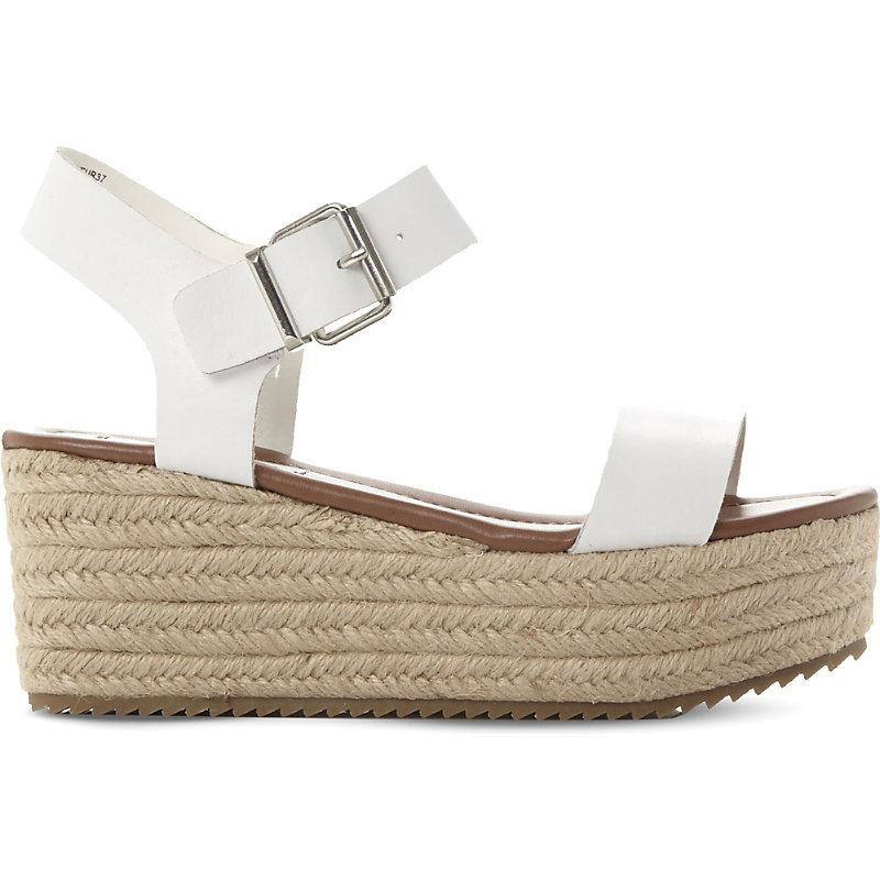 Surfa Espadrilles Leather Platform Sandals, Women's, Eur 41 / 8 Uk Women, White Leather - predominant colour: white; occasions: casual, holiday; material: leather; heel height: high; embellishment: buckles; ankle detail: ankle strap; heel: wedge; toe: open toe/peeptoe; style: standard; finish: plain; pattern: plain; shoe detail: platform; season: s/s 2016; wardrobe: highlight