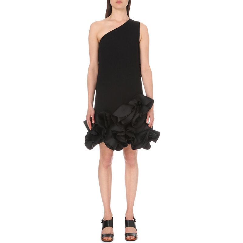 Ruffled Satin Dress, Women's, Black - style: shift; pattern: plain; sleeve style: sleeveless; neckline: asymmetric; predominant colour: black; occasions: evening; length: just above the knee; fit: body skimming; fibres: polyester/polyamide - 100%; sleeve length: sleeveless; texture group: structured shiny - satin/tafetta/silk etc.; hip detail: ruffles/tiers/tie detail at hip; pattern type: fabric; season: s/s 2016