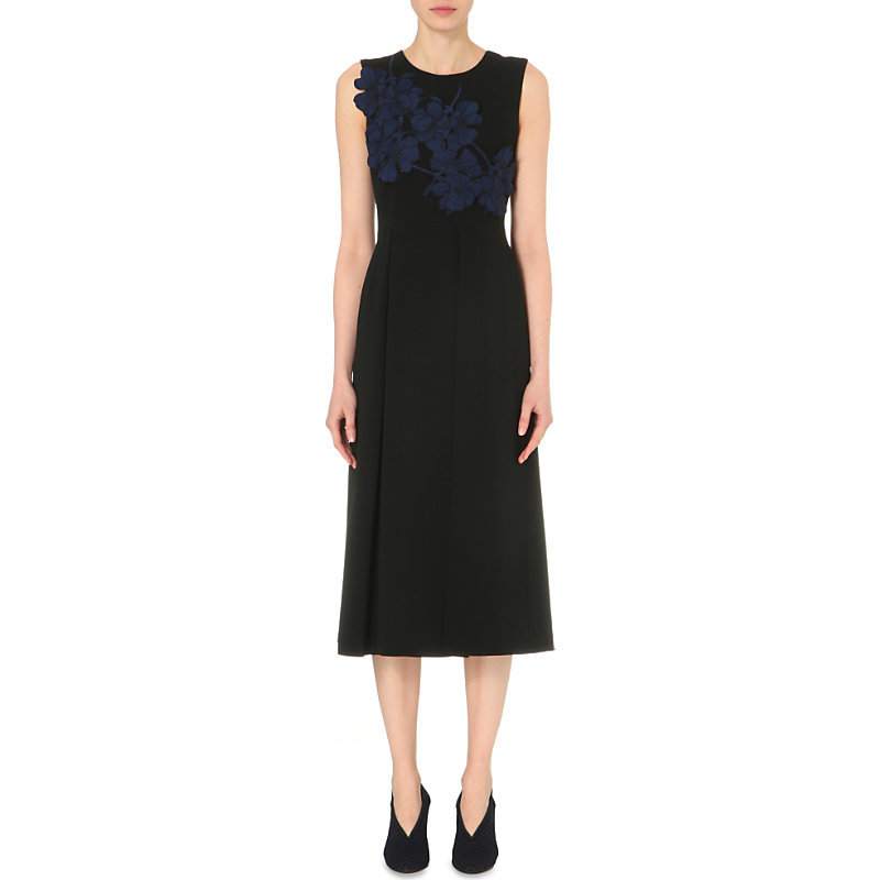 Samba Crepe Dress, Women's, Black - style: shift; length: calf length; pattern: plain; sleeve style: sleeveless; bust detail: added detail/embellishment at bust; secondary colour: royal blue; predominant colour: black; occasions: evening; fit: body skimming; fibres: viscose/rayon - stretch; neckline: crew; sleeve length: sleeveless; pattern type: fabric; texture group: jersey - stretchy/drapey; embellishment: embroidered; season: s/s 2016; wardrobe: event