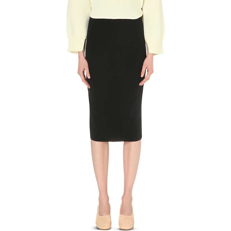 Ella Crepe Pencil Skirt, Women's, Black - length: below the knee; pattern: plain; style: pencil; fit: tight; waist: mid/regular rise; predominant colour: black; occasions: evening; fibres: viscose/rayon - stretch; texture group: jersey - clingy; pattern type: fabric; season: s/s 2016; wardrobe: event