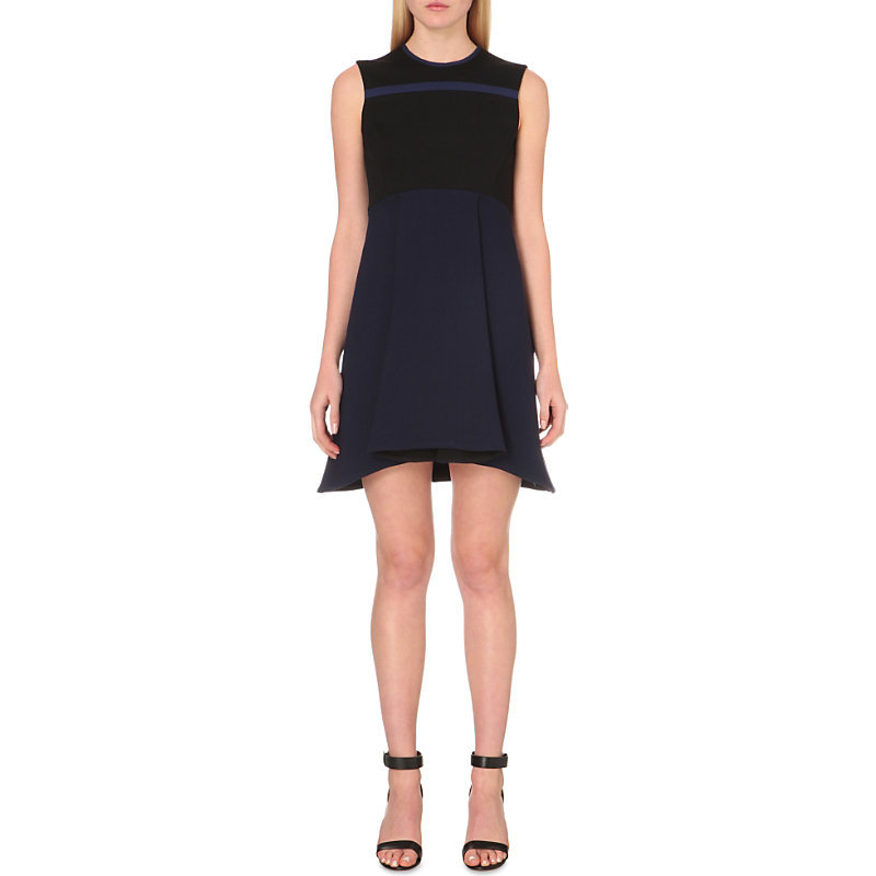 A Line Crepe And Wool Dress, Women's, Black - style: shift; length: mini; pattern: plain; sleeve style: sleeveless; secondary colour: navy; predominant colour: black; occasions: evening; fit: soft a-line; fibres: wool - mix; neckline: crew; sleeve length: sleeveless; texture group: crepes; pattern type: fabric; season: s/s 2016; wardrobe: event