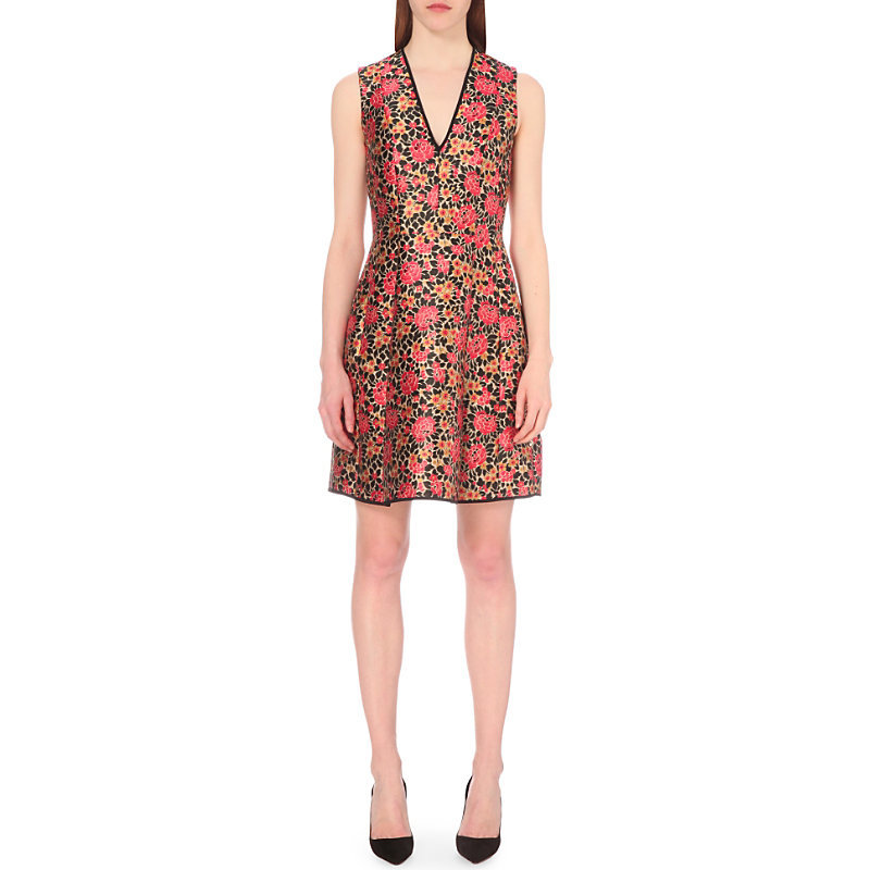 Floral Jacquard A Line Dress, Women's, Black/Coral - neckline: v-neck; sleeve style: sleeveless; predominant colour: coral; occasions: evening; length: just above the knee; fit: fitted at waist & bust; style: fit & flare; fibres: polyester/polyamide - stretch; sleeve length: sleeveless; pattern type: fabric; pattern: florals; texture group: brocade/jacquard; multicoloured: multicoloured; season: s/s 2016; wardrobe: event
