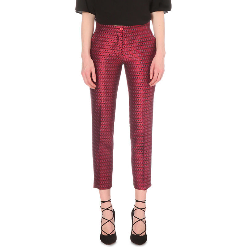 Geometric Jacquard Cotton Blend Trousers, Women's, Pink - style: peg leg; waist: mid/regular rise; predominant colour: burgundy; occasions: evening; length: ankle length; fibres: cotton - mix; fit: tapered; pattern type: fabric; pattern: patterned/print; texture group: brocade/jacquard; season: s/s 2016; wardrobe: event