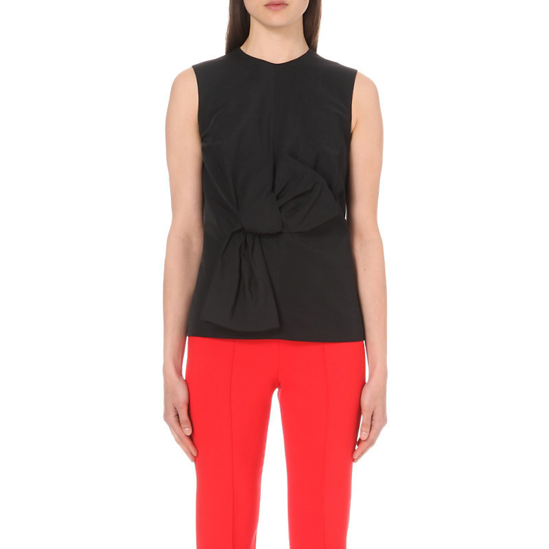 Bow Detail Woven Top, Women's, Black - pattern: plain; sleeve style: sleeveless; predominant colour: black; occasions: casual; length: standard; style: top; fit: body skimming; neckline: crew; sleeve length: sleeveless; pattern type: fabric; texture group: jersey - stretchy/drapey; fibres: viscose/rayon - mix; season: s/s 2016; wardrobe: basic