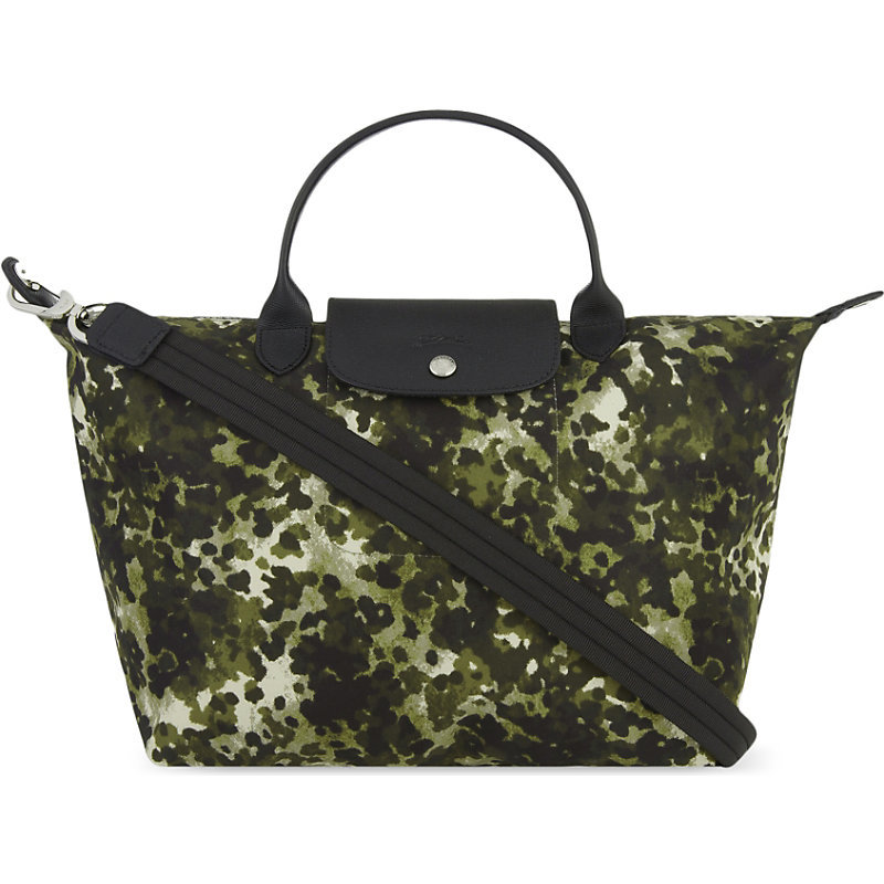 Camoflage Print Medium Travel Tote, Women's, Green - predominant colour: khaki; secondary colour: black; occasions: casual, holiday; type of pattern: heavy; style: tote; length: handle; size: oversized; material: leather; finish: plain; pattern: camouflage; season: s/s 2016; wardrobe: highlight