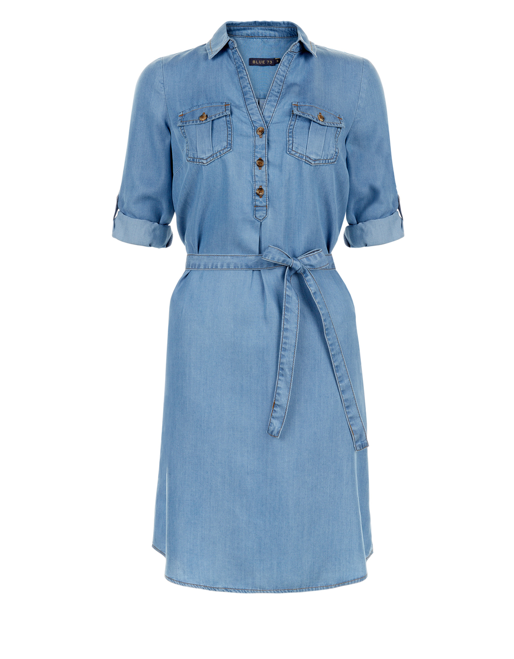 Callie Tencel Shirt Dress - style: shirt; neckline: shirt collar/peter pan/zip with opening; pattern: plain; waist detail: belted waist/tie at waist/drawstring; predominant colour: denim; occasions: casual; length: just above the knee; fit: body skimming; fibres: viscose/rayon - 100%; sleeve length: short sleeve; sleeve style: standard; texture group: denim; pattern type: fabric; season: s/s 2016; wardrobe: basic