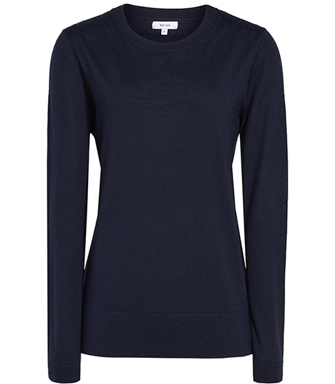 Truth Merino Wool Jumper - pattern: plain; style: standard; predominant colour: navy; occasions: casual; length: standard; fibres: wool - 100%; fit: slim fit; neckline: crew; sleeve length: long sleeve; sleeve style: standard; texture group: knits/crochet; pattern type: knitted - fine stitch; season: s/s 2016; wardrobe: basic