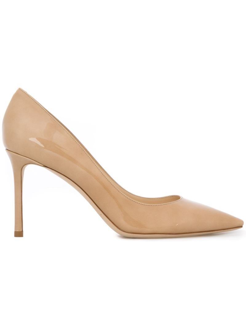 'romy 85' Pumps, Women's, Size: 39, Nude/Neutrals - predominant colour: nude; occasions: evening, occasion, creative work; material: leather; heel height: mid; heel: stiletto; toe: pointed toe; style: courts; finish: patent; pattern: plain; season: s/s 2016; wardrobe: investment