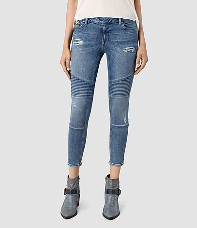 Biker Destroyed Cropped Jeans - style: skinny leg; pattern: plain; pocket detail: traditional 5 pocket; waist: mid/regular rise; predominant colour: denim; occasions: casual; length: calf length; fibres: cotton - stretch; texture group: denim; pattern type: fabric; jeans detail: rips; season: s/s 2016; wardrobe: basic