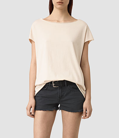 Slash Back Tee - pattern: plain; predominant colour: blush; occasions: casual; length: standard; style: top; fibres: cotton - 100%; fit: loose; neckline: crew; sleeve length: short sleeve; sleeve style: standard; pattern type: fabric; texture group: other - light to midweight; season: s/s 2016; wardrobe: basic