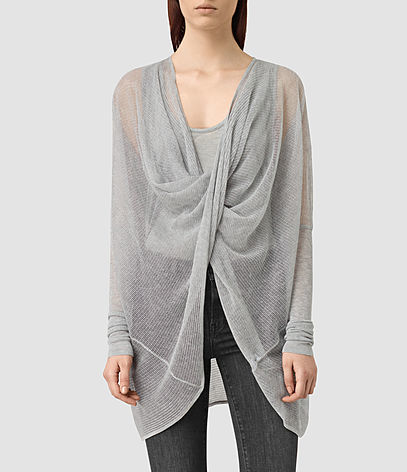 Itat Lev Shrug Cardigan - neckline: low v-neck; pattern: plain; style: wrap; length: below the bottom; predominant colour: light grey; occasions: casual; fit: loose; sleeve length: long sleeve; sleeve style: standard; texture group: knits/crochet; pattern type: knitted - fine stitch; fibres: viscose/rayon - mix; season: s/s 2016; wardrobe: basic